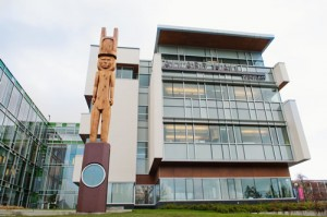The new Musqueam house post at Allard Hall. Carved by Brent Sparrow Jr.