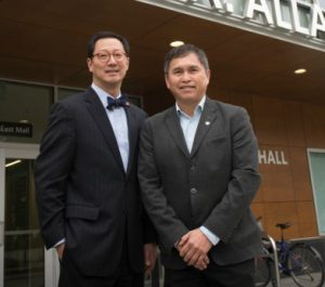 UBC President Santa Ono and Joe Gallagher, chief executive officer of the FNHA, announce a new chair to improve cancer outcomes and wellness among First Nations and Indigenous people. Credit: Lindsey Donovan Photography.