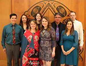 Aboriginal MD Graduates, Class of 2017 and James Andrew, Aboriginal MD Admissions Program Coordinator. Left to right: Cody Kaskamin, Lauren Taylor, Ellie Parton, Gabrielle Levin, Jennafer Wilson, James Andrew, Lindsay Wainwright, James Williams. Missing: Alexander Sheppard, Benjamin Sheppard.